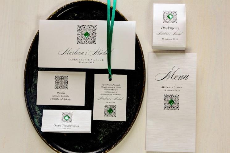 Zestaw próbny srebrnych zaproszeń ślubnych wraz z dodatkami i podziękowaniami dla gości - Brenet nr 3