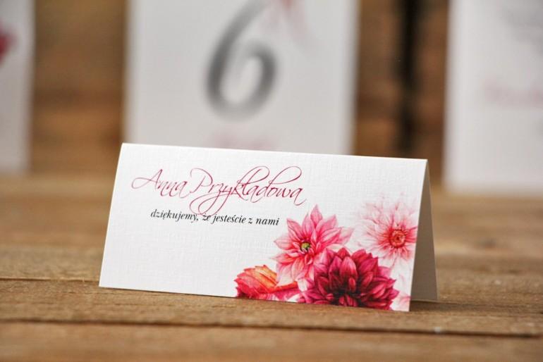 Winietki na stół weselny, ślub - Akwarele nr 2 - Bordowe dalie