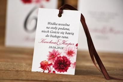 Zawieszka na butelkę, wódka weselna, ślub - Akwarele nr 2 - kwiatowe Chłodny fiolet, bordo, kwiaty dalii