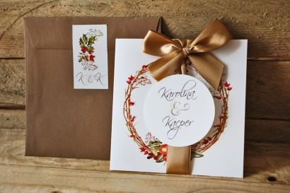 Zaproszenie ślubne z kokardą i kolorową kopertą - Akwarele nr 3 - Zimowo-świąteczne