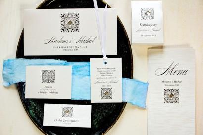 Zestaw próbny zaproszeń ślubnych wraz z winietkami, zawieszkami, menu weselne oraz podziękowania dla gości - Brenet nr 1