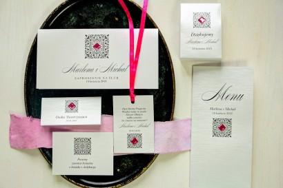Zestaw próbny zaproszeń ślubnych wraz z winietkami, zawieszkami, menu weselne oraz podziękowania dla gości - Brenet nr 2
