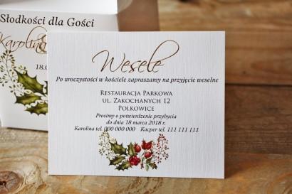 Bilecik do zaproszenia 120 x 98 mm prezenty ślubne wesele - Akwarele nr 3 - Zimowo-świąteczne