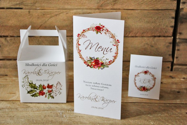 Menu weselne, stół weselny - Akwarele nr 3 - Zimowo-świąteczna kompozycja