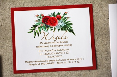 Bilecik dwuwarstwowy prezenty ślubne wesele - Cykade nr 2 ze złoceniem - Eleganckie intensywnie czerwone róże