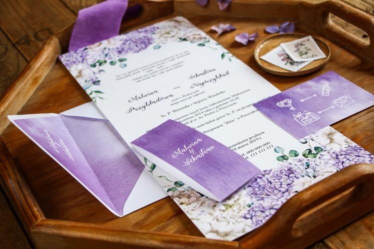 Zaproszenia ślubne z fioletową hortensją i białymi piwoniami z dodatkiem eukaliptusa - zaproszenie rozłożone