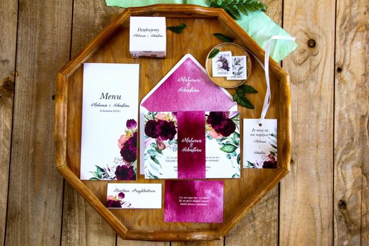 Zestaw zaproszeń ślubnych wraz z podziękowaniami dla gości oraz dodatkami weselnymi - Rozalia nr 2