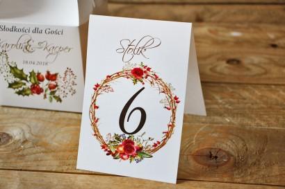 Numery stolików, stół weselny, ślub - Akwarele nr 3 - Zimowo-świąteczne