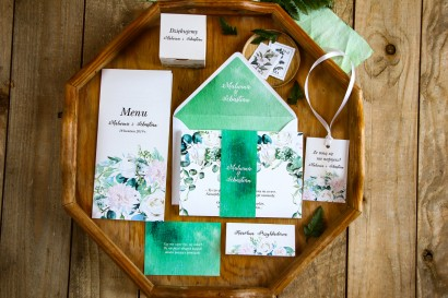 Zestaw zaproszeń ślubnych wraz z podziękowaniami dla gości oraz dodatkami weselnymi - Rozalia nr 3