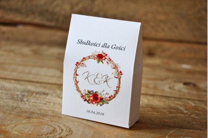 Pudełeczko stojące na cukierki, podziękowania dla Gości weselnych - Akwarele nr 3 - Zimowo-świąteczne