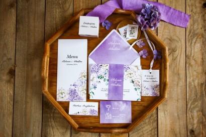 Zestaw zaproszeń ślubnych wraz z podziękowaniami dla gości oraz dodatkami weselnymi - Rozalia nr 1