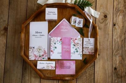 Zestaw zaproszeń ślubnych wraz z podziękowaniami dla gości oraz dodatkami weselnymi - Rozalia nr 4