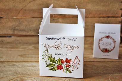 Pudełko na ciasto kwadratowe, tort weselny - Akwarele nr 3 - Zimowo-świąteczne