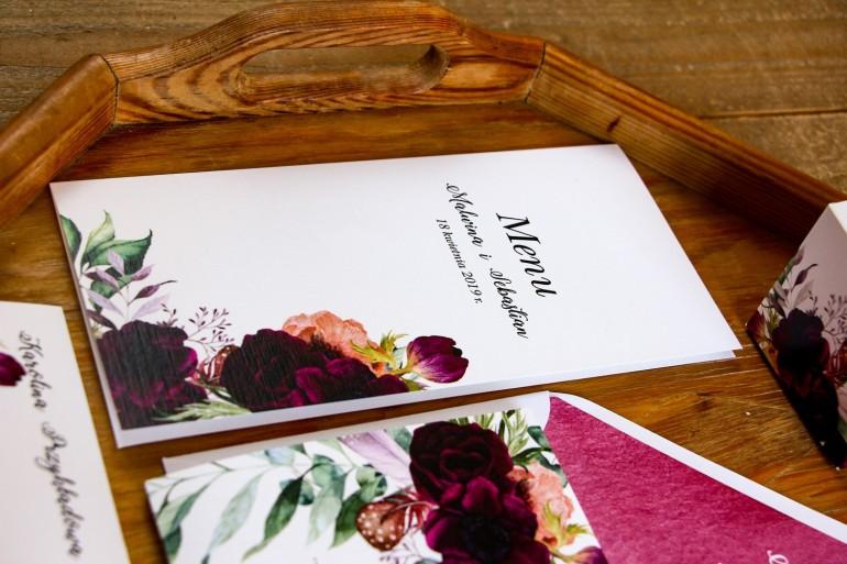 Menu ślubne, dodatki na stół weselny - Kompozycja z burgundowymi piwoniami i anemonami