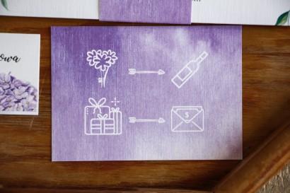 Bilecik do zaproszeń ślubnych z piktogramami, kolor fioletowy