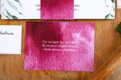 Bilecik do zaproszeń ślubnych, kolor burgundowy