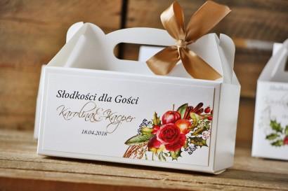 Prostokątne pudełko na ciasto, tort weselny, ślub - Akwarele nr 3 - Zimowo-świąteczne