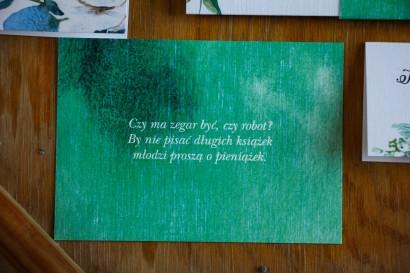 Bilecik do zaproszeń ślubnych, kolor butelkowa zieleń