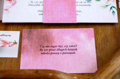 Bilecik do zaproszeń ślubnych, kolor różowy