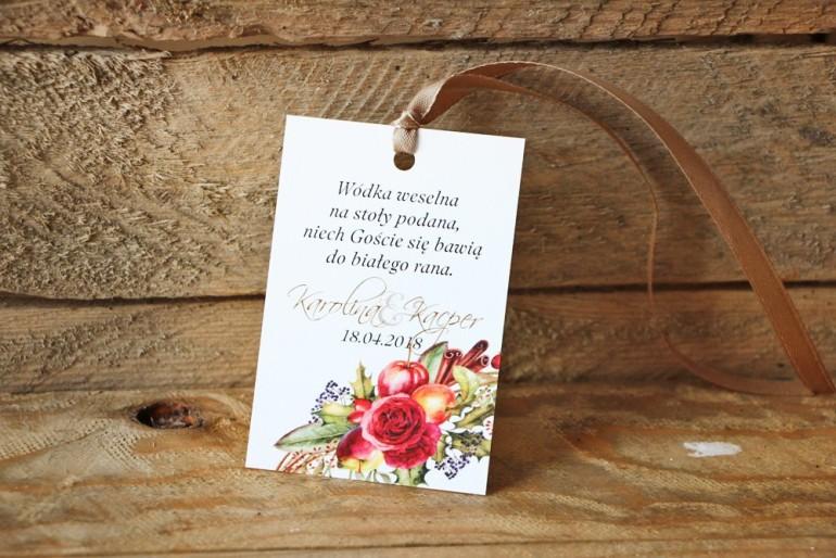 Zawieszka na butelkę, wódka weselna, ślub - Akwarele nr 3 - Zimowo-świąteczna kwiatowa kompozycja