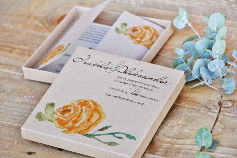 Efektowne zaproszenie ślubne w pudełku - Ekologiczne Margaret nr 3 - Żółta róża