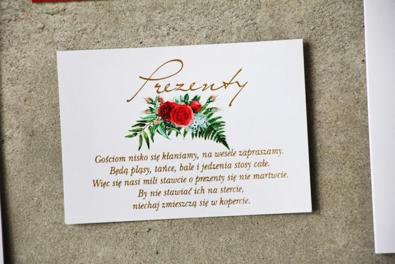 Bilecik prezenty ślubne wesele - Cykade nr 2 ze złoceniem - Intensywnie czerwone róże z zielenią