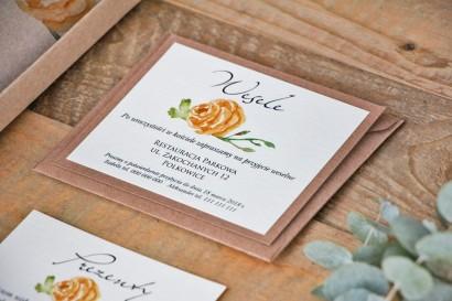 Bilecik dwuwarstwowy prezenty wesele - Margaret nr 3 - Ekologiczne - Żółta róża, zielone gałązki