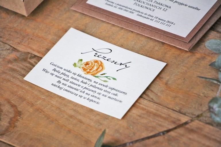 Bilecik do zaproszenia 105 x 74 mm prezenty ślubne wesele - Margaret nr 3 - Ekologiczne - Żółta róża