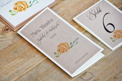 Menu weselne, stół weselny - Margaret nr 3 - Ekologiczne - Żółte róże z akcentem zieleni