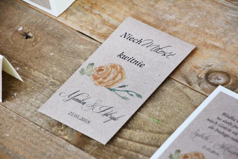 Podziękowania dla Gości weselnych - nasiona Niezapominajki - Margaret nr 3 - Żółta róża z zielenią
