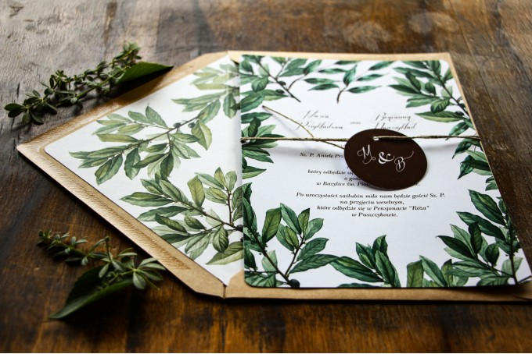 Jednokartkowe rustykalne zaproszenia ślubne z motywem gałązek oliwki, projekt utrzymany w stylistyce greenery