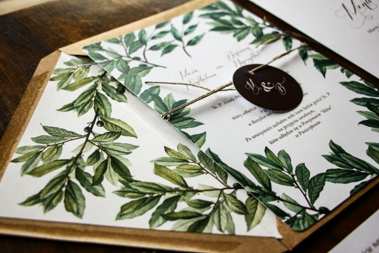 Jednokartkowe rustykalne zaproszenia ślubne z motywem gałązek oliwki, projekt utrzymany w stylistyce greenery - Zestaw próbny