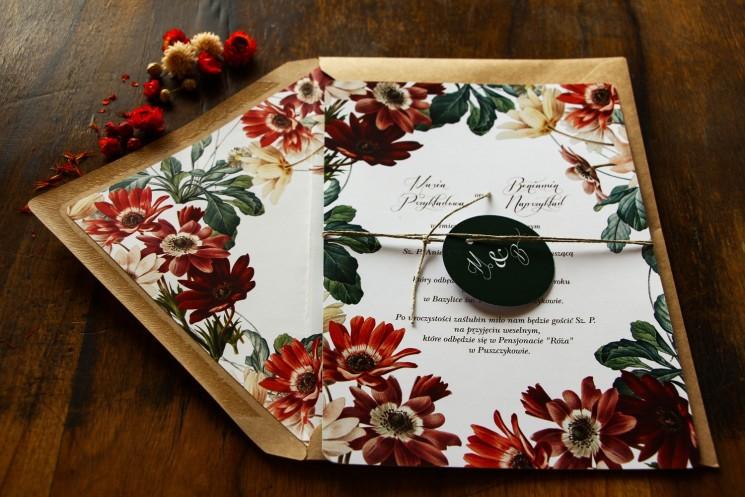 Jednokartkowe botaniczne zaproszenia ślubne z motywem bordowych i burgundowych stokrotek afrykańskich - zestaw próbny