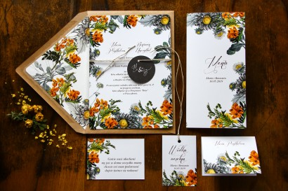 Jednokartkowe botaniczne zaproszenia ślubne z motywem żółtych kwiatów, przełamanych szarością