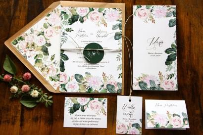 Jednokartkowe botaniczne zaproszenia ślubne z motywem pastelowych, różowych dalii i róż