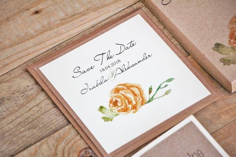 Bilecik Save The Date dwuwarstwowy do zaproszenia ślubnego Margaret nr 3 - Żółta róża