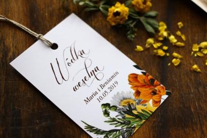 Zawieszki na trunki weselne, dodatki ślubne z motywem żółtych kwiatów, przełamanych szarością
