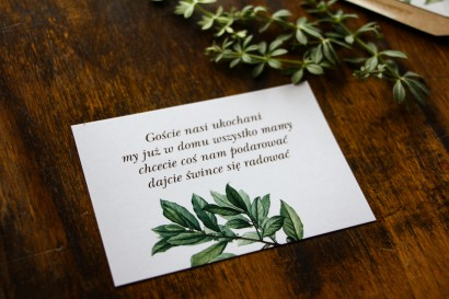 Bilecik do zaproszeń ślubnych z motywem gałązek oliwki, projekt utrzymany w stylistyce greenery