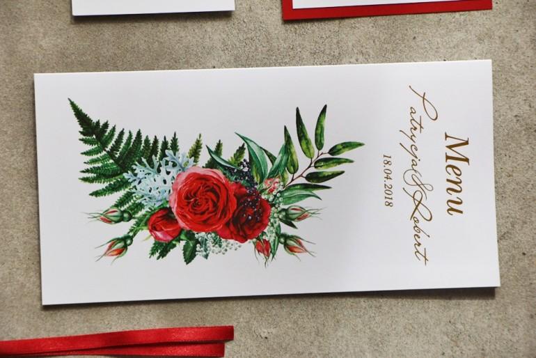 Menu ślubne ze złoceniem oraz czerwonymi różami i leśną paprocią. Złote Menu Ślubne. - Cykade nr 2