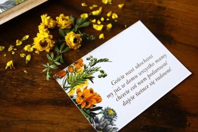 Bilecik do zaproszeń ślubnych z motywem żółtych kwiatów, przełamanych szarością