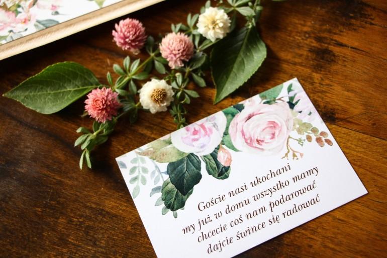 Bilecik do zaproszeń ślubnych z motywem pastelowych, różowych dalii i róż