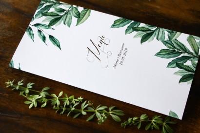 Menu ślubne na stół weselny z motywem gałązek oliwki, projekt utrzymany w stylistyce greenery