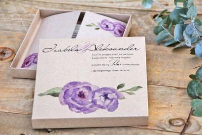 Efektowne zaproszenie ślubne w pudełku - Ekologiczne Margaret nr 4 - Fioletowe róże