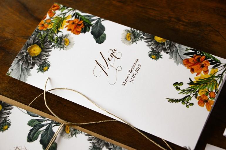 Menu ślubne na stół weselny z motywem żółtych kwiatów, przełamanych szarością