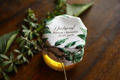 Słodkie podziękowania dla gości weselnych w postaci słoiczków z Miodem z motywem gałązek oliwki