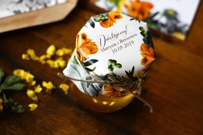 Słodkie podziękowania dla gości weselnych, ślubnych w postaci słoiczków z Miodem  z motywem żółtych kwiatów