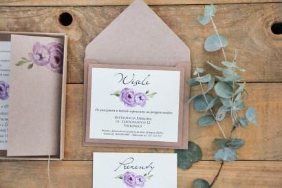 Bilecik dwuwarstwowy prezenty wesele - Margaret nr 4 - Ekologiczne - Fioletowe róże