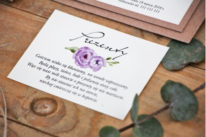 Bilecik do zaproszenia 105 x 74 mm prezenty ślubne wesele - Margaret nr 4 - Ekologiczne - Fioletowe róże