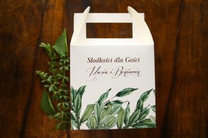 Podziękowania dla gości ślubnych - Pudełko na Ciasto weselne z motywem gałązek oliwki
