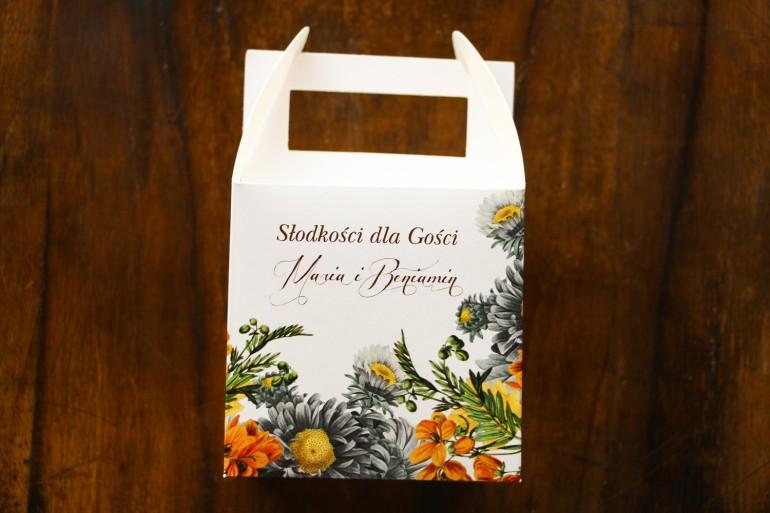 Podziękowania dla gości ślubnych - Pudełko na Ciasto weselne z motywem żółtych kwiatów, przełamanych szarością